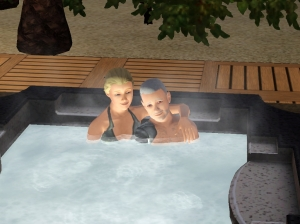 Prometheus & Dara enjoying some alone time in the hot-tub.