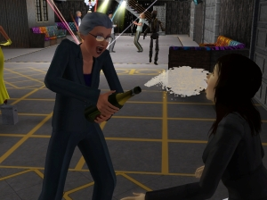Niobe spraying champagne all over her arch-nemesis, Demetria.